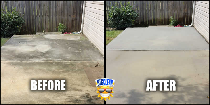 Concrete cleaning charlotte power washing nc big clean for Deck and concrete cleaner