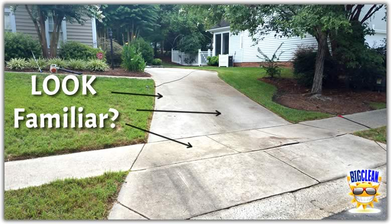 Pressure Washing Concrete Driveway Before Picture